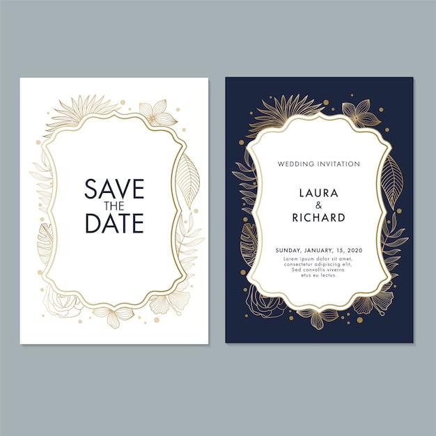 Modelo de cartão de convite de casamento com folhas e fundo floral Vetor Premium