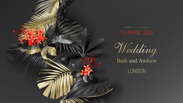 Modelo de cartão de convite de casamento com folhas tropicais de ouro e preto Vetor grátis