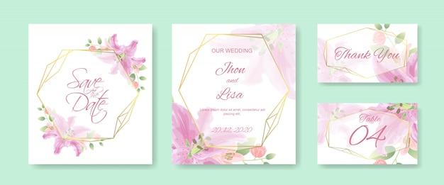 Modelo de cartão de convite de casamento com lindas flores Vetor Premium