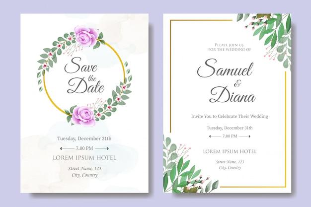 Modelo de cartão de convite de casamento com lindas folhas florais Vetor Premium