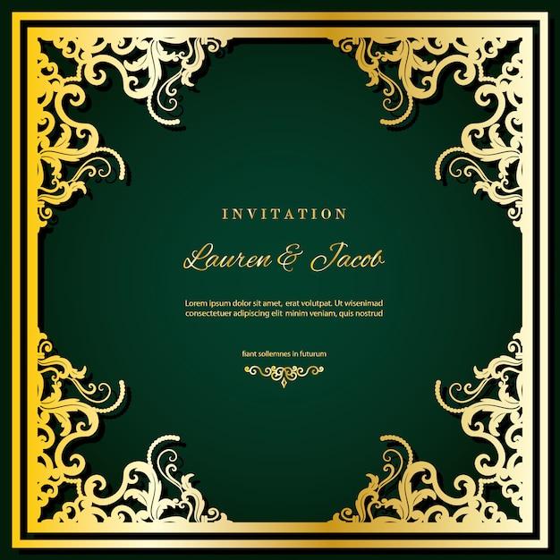 Modelo de cartão de convite de casamento com moldura de corte a laser. Vetor Premium