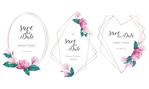 Modelo de cartão de convite de casamento com moldura geométrica de ouro rosa e decoração floral em aquarela. Vetor Premium