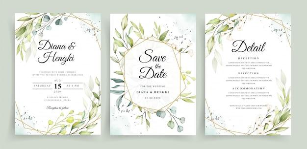 Modelo de cartão de convite de casamento com moldura geométrica e aquarela de vegetação Vetor Premium