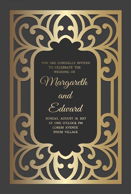 Modelo de cartão de convite de casamento com padrão de folha de ouro. design de borda de quadro de corte a laser. Vetor Premium