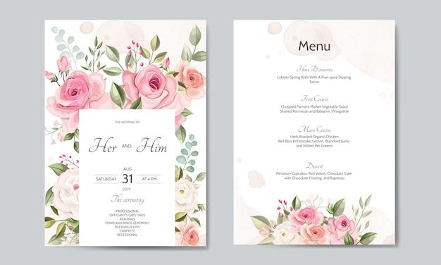 Modelo de cartão de convite de casamento conjunto com lindas folhas florais Vetor Premium