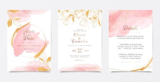 Modelo de cartão de convite de casamento cremoso em aquarela com decoração floral dourada. Vetor Premium