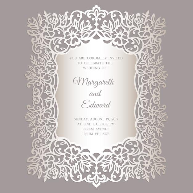 Modelo de cartão de convite de casamento de corte a laser floral. design de moldura de borda ornamentado. Vetor Premium