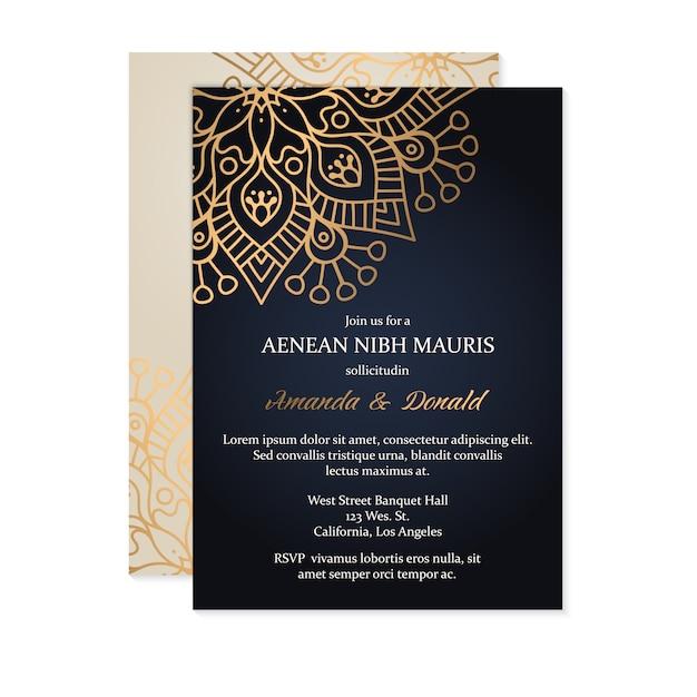 Modelo de cartão de convite de casamento de luxo Vetor grátis