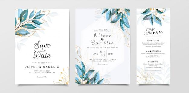Modelo de cartão de convite de casamento de vegetação com folhas em aquarela e glitter dourado Vetor Premium