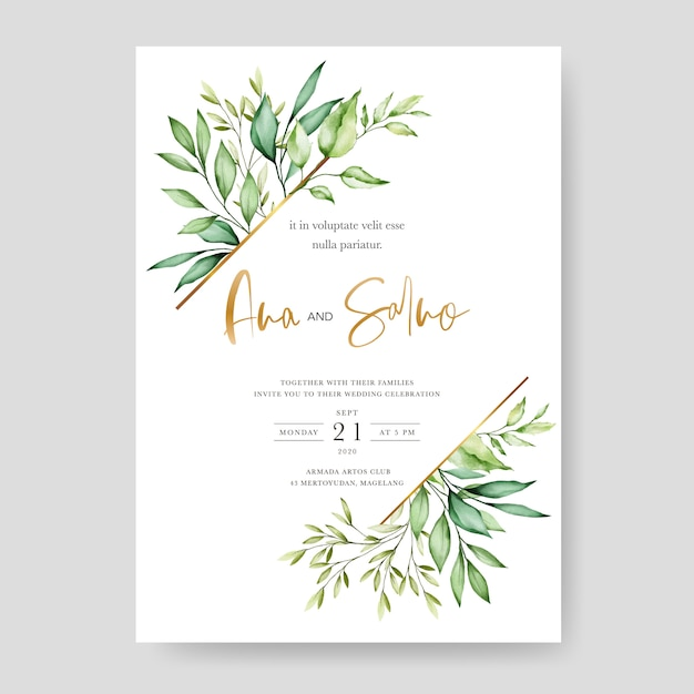Modelo de cartão de convite de casamento, design floral em aquarela Vetor Premium