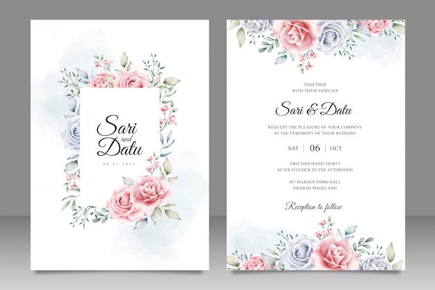 Modelo de cartão de convite de casamento elegante com bela aquarela floral Vetor Premium