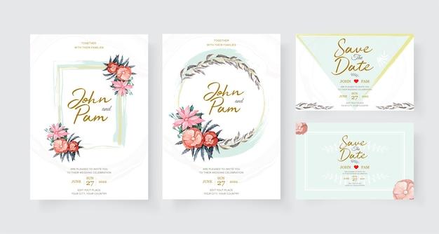 Modelo de cartão de convite de casamento elegante com decoração de flores. Vetor grátis