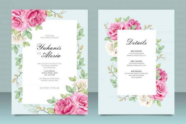 Modelo de cartão de convite de casamento elegante com flores e folhas Vetor Premium