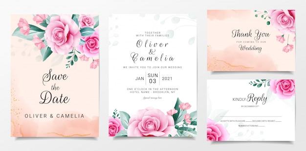 Modelo de cartão de convite de casamento elegante conjunto com arranjos de flores em aquarela Vetor Premium