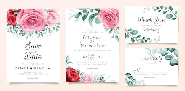 Modelo de cartão de convite de casamento elegante conjunto com decoração de flores em aquarela cor de vinho e pêssego Vetor Premium