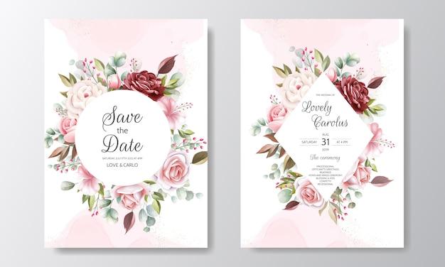 Modelo de cartão de convite de casamento elegante conjunto com decoração floral e glitter dourado Vetor Premium