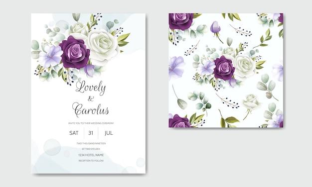 Modelo de cartão de convite de casamento elegante conjunto com padrão floral sem emenda Vetor Premium
