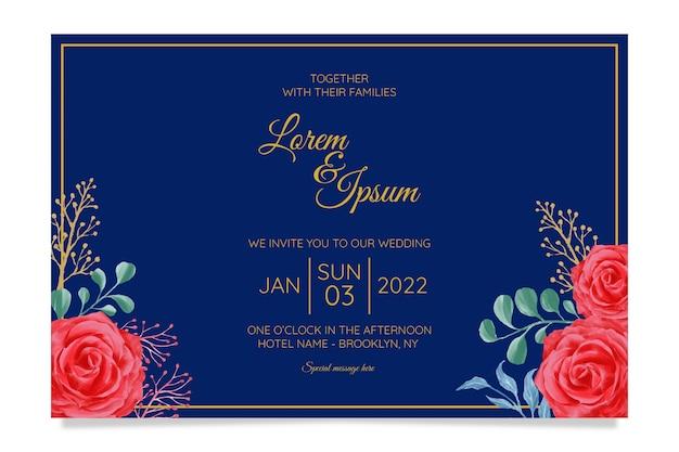 Modelo de cartão de convite de casamento elegante conjunto e decoração de flores em aquarela Vetor Premium