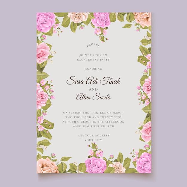 Modelo de cartão de convite de casamento elegante Vetor grátis