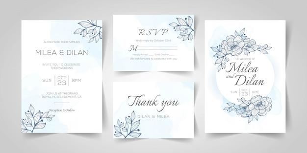 Modelo de cartão de convite de casamento em aquarela com decoração floral dourada Vetor Premium
