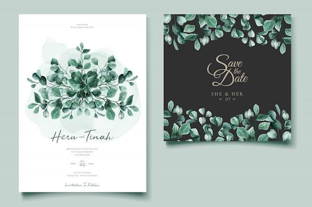 Modelo de cartão de convite de casamento em aquarela de eucalipto Vetor grátis