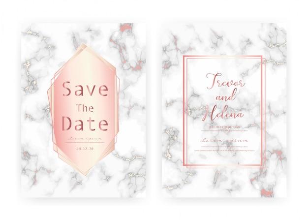 Modelo de cartão de convite de casamento em mármore, salve o cartão de casamento de data, design moderno de cartão com textura de mármore Vetor Premium