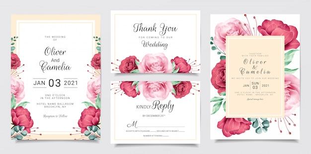 Modelo de cartão de convite de casamento flor conjunto com moldura floral em aquarela e fronteira Vetor Premium