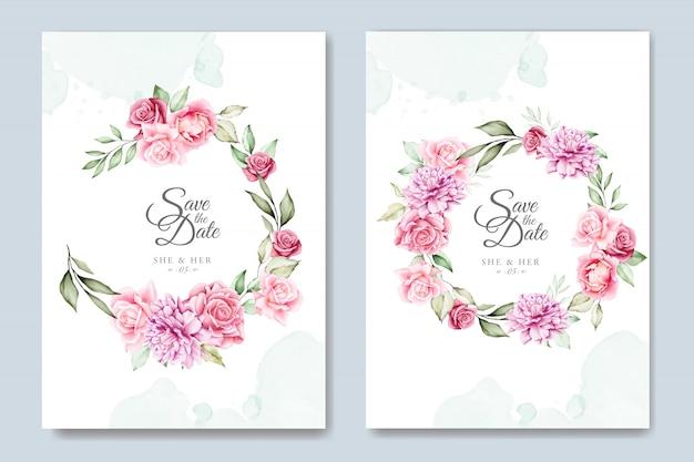 Modelo de cartão de convite de casamento floral aquarela Vetor Premium