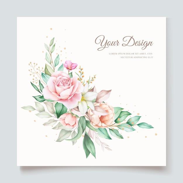 Modelo de cartão de convite de casamento floral desenhado à mão Vetor Premium