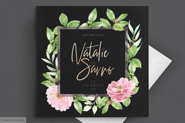 Modelo de cartão de convite de casamento floral elegante camélia Vetor grátis