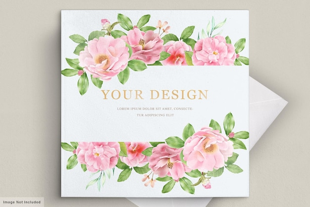 Modelo de cartão de convite de casamento floral elegante camélia Vetor Premium