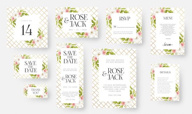 Modelo de cartão de convite de casamento floral moderno conjunto com aquarela flores e folhas Vetor Premium