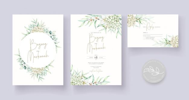 Modelo de cartão de convite de casamento floral suave e elegante Vetor grátis