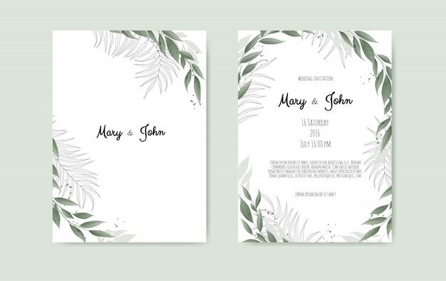 Modelo de cartão de convite de casamento floral vetor Vetor Premium