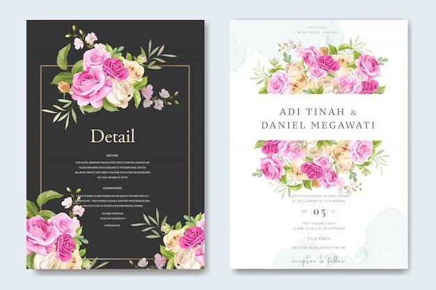 Modelo de cartão de convite de casamento floral Vetor Premium