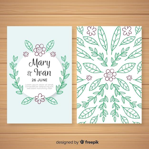 Modelo de cartão de convite de casamento floral Vetor grátis