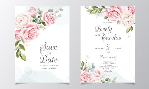 Modelo de cartão de convite de casamento linda coroa floral Vetor Premium