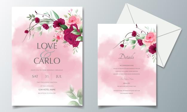 Modelo de cartão de convite de casamento linda grinalda floral Vetor Premium