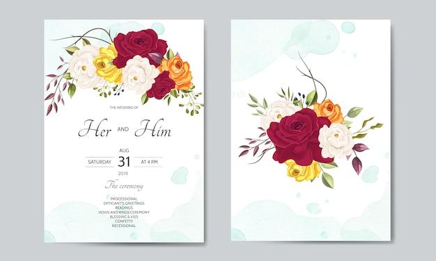 Modelo de cartão de convite de casamento lindo com folhas florais Vetor Premium