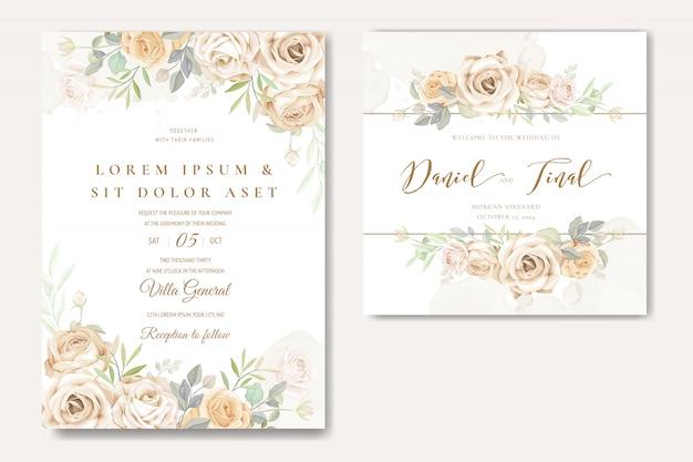 Modelo de cartão de convite de casamento lindo com rosas brancas e amarelas Vetor Premium