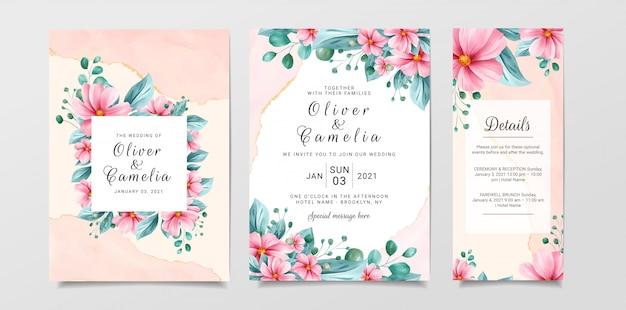 Modelo de cartão de convite de casamento lindo conjunto com aquarela floral e fundo de mármore Vetor Premium