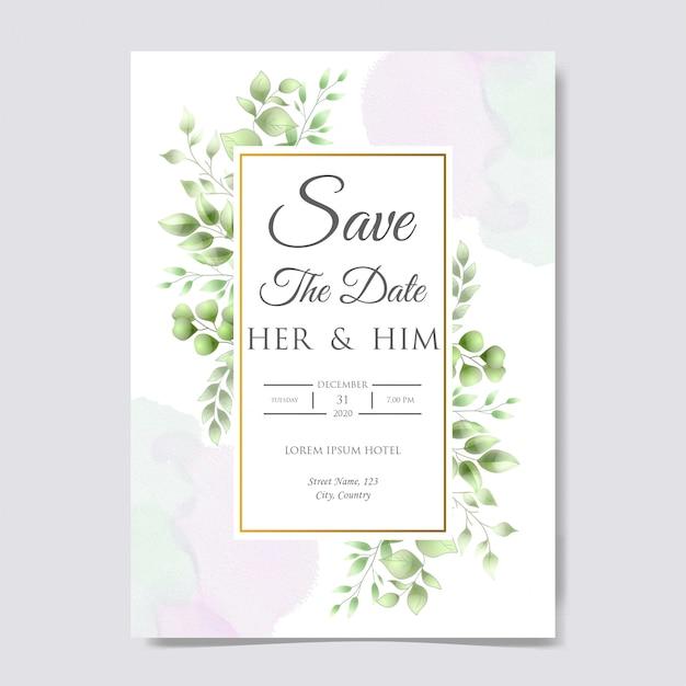 Modelo de cartão de convite de casamento lindo Vetor Premium