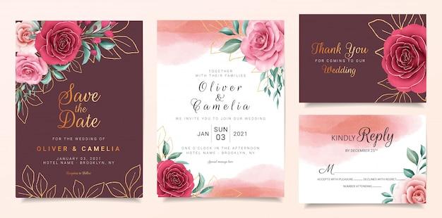 Modelo de cartão de convite de casamento marrom conjunto com borda de flores e decoração de ouro. Vetor Premium