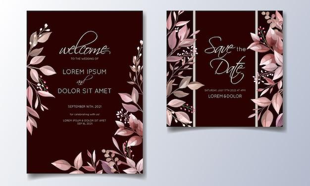 Modelo de cartão de convite de casamento marrom romântico conjunto com rosa cosmos flores e folhas Vetor Premium