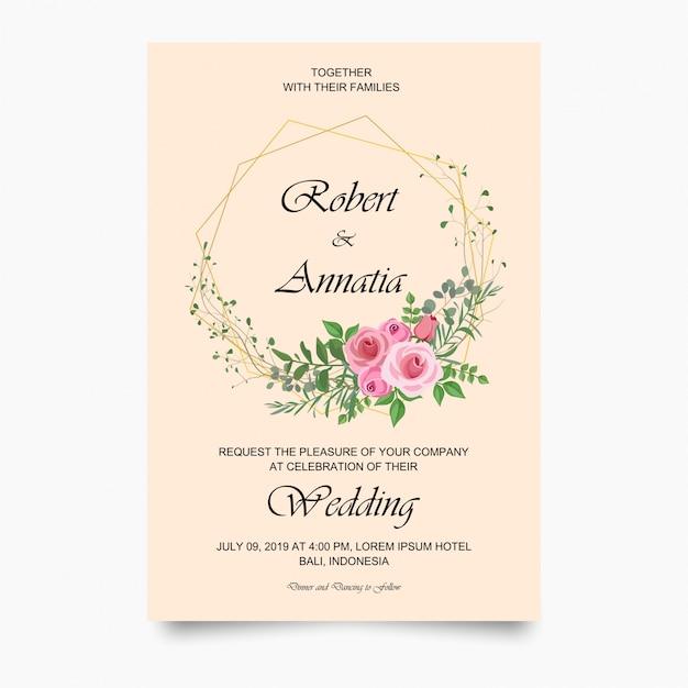 Modelo de cartão de convite de casamento moderno Vetor Premium