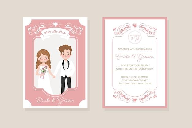 Modelo de cartão de convite de casamento, noiva e noivo, amor, relacionamento, namorada, noivado, dia dos namorados Vetor Premium