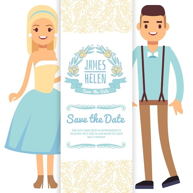 Modelo de cartão de convite de casamento. personagem de desenho animado noiva e noivo isolado Vetor Premium