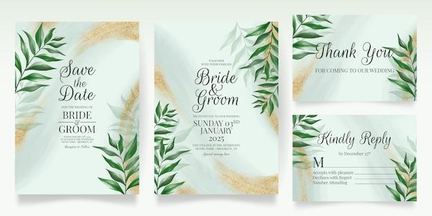 Modelo de cartão de convite de casamento verde com folhas em aquarela glitter dourados Vetor Premium