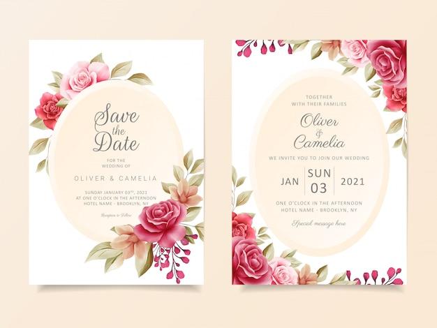 Modelo de cartão de convite de casamento vintage conjunto com elegante moldura floral moderna Vetor Premium