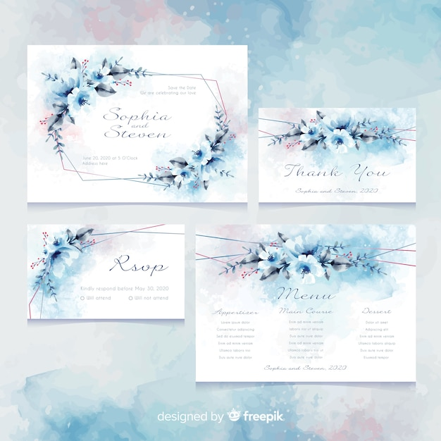 Modelo de cartão de convite de casamento Vetor grátis